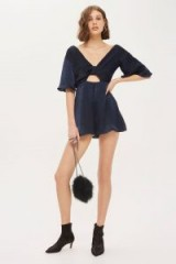 Topshop Knot Satin Playsuit ~ navy-blue cut out playsuits