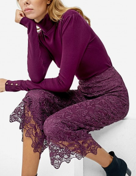 STRADIVARIUS Lace culottes / floral purple cropped trousers