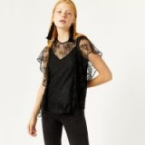 Warehouse LACE RUFFLE TEE | black semi sheer tees | romantic tops/T-shirts