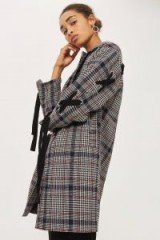 Topshop Lace Up Sleeve Checked Coat