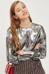 Topshop Lame Balloon Sleeve Blouse / shiny silver blouses