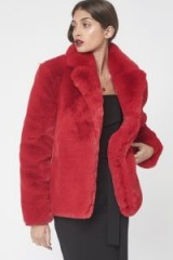 LAVISH ALICE Cropped Faux Fur Jacket in Red ~ glamorous winter jackets