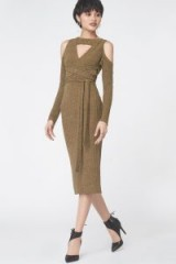 LAVISH ALICE Criss Cross Keyhole Rib Knit Dress in Khaki ~ super stylish knitwear