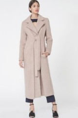 LAVISH ALICE Brushed Wool Tie Front Duster Coat in Stone ~ luxury style winter coats