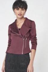 LAVISH ALICE Satin Biker Jacket in Wine ~ warm winter colours ~ dark red jackets