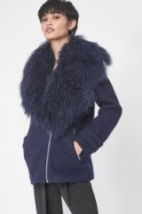 LAVISH ALICE Oversized Wool Shearling Coat in Navy ~ winter glamour ~ blue shaggy collared coats