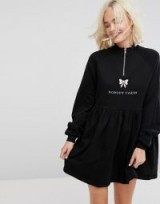 Lazy Oaf Zip Up Sweat Dress With Nobody Cares Zip Detail / slogan dresses/fashion