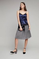 Just Female Lemaire Metallic Knit Pleated Skirt / silver shimmer skirts