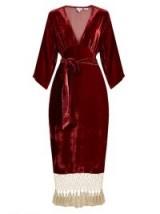 RHODE RESORT Leonard tassel-hem velvet dress ~ red plunging dresses ~ luxe style fashion