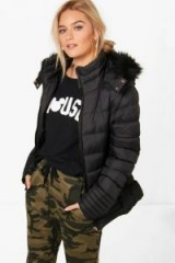 boohoo Libby Quilted Faux Fur Trim Jacket ~ black hooded jackets