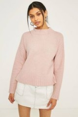 Light Before Dark Boxy Mock Neck Jumper ~ soft long sleeved jumpers ~ pink sweaters