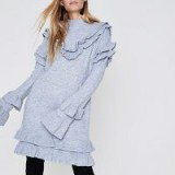 RIVER ISLAND Light grey frill turtle neck knitted dress | ruffle dresses | knitwear