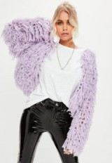 Missguided lilac shaggy crop cardigan | cropped cardigans | on-trend knitwear