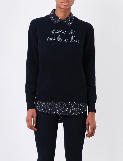 LINGUA FRANCA It Was All A Dream cashmere jumper / black slogan jumpers - flipped
