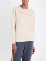 LINGUA FRANCA Revolutionary cashmere jumper / beige slogan jumpers