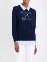 LINGUA FRANCA Science Not Fiction cashmere jumper / navy blue slogan crew neck jumpers