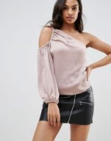 Lipsy One Shoulder Top in Satin