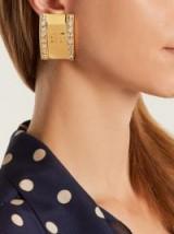 BALENCIAGA Logo Licence crystal earring ~ designer statement jewellery