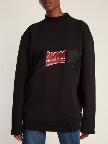 VETEMENTS Logo-embroidered cotton-blend sweatshirt / designer sweatshirts