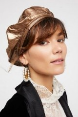 Nicholas K Lolita Leather Beret / metallic gold berets / hats / accessories