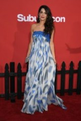 Amal Clooney in a blue strapless 2007 Bill Blass dress at the premiere of Suburbicon