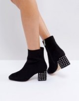 Lost Ink Denny Black Studded Ankle Boots ~ chunky stud heel boot