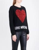 LOVE MOSCHINO Metallic heart-intarsia knitted jumper ~ designer knitwear