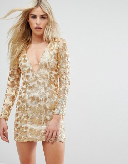 d84fc44c5d Love Triangle V Neck Mini Dress In All Over Metallic Lace – gold plunge  front mini