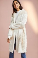 Anthropologie Mackie Faux Fur Patched Robe / fluffy ivory rib knit robes/coats