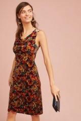 Moulinette Soeurs Mahlia Printed Velvet Column Dress / floral dresses