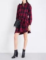 MAJE Randra check cotton shirt dress / red tartan dresses