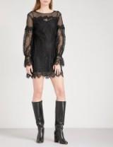 MAJE Roya floral-lace mini dress ~ semi sheer lbd