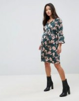Mamalicious Bloom Printed Woven Dress With Fluted Sleeve ~ floral maternity dresses