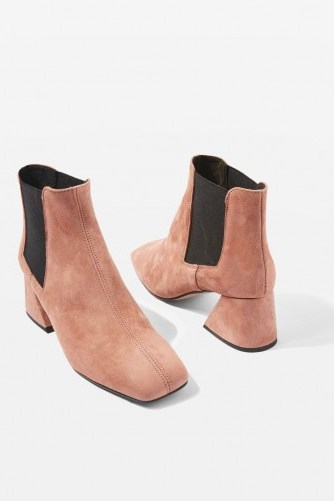 TOPSHOP MANUEL Ankle Boots / blush leather chunky heeled boot - flipped