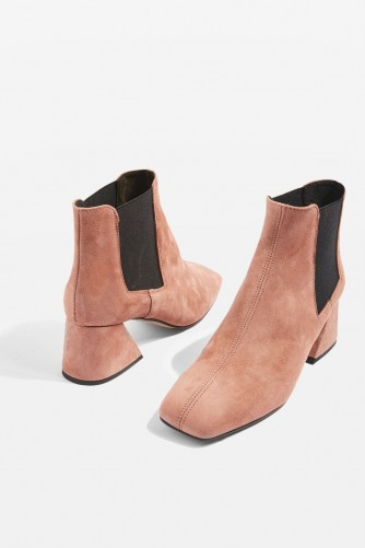 TOPSHOP MANUEL Ankle Boots / blush leather chunky heeled boot