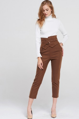 STORETS Marcia Belted High Waist Pants | brown cropped trousers