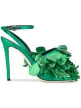 MARCO DE VINCENZO clustered leaf sandals / green ankle strap high heels