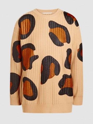 MARCO DE VINCENZO‎ Leopard Ribbed-Knit Wool Sweater