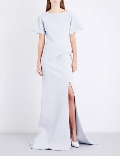 MATICEVSKI Geomorph folded-detail matelassé gown – dove-grey gowns – modern designs
