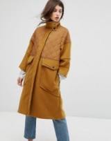 Max&Co Desideri Quilted Panel Coat / part quilted funnel neck coats