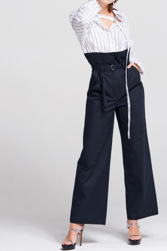 STORETS May High-Waist Belted Pants   stylish navy blue wide leg trousers