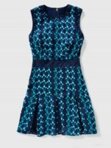 Reese Witherspoon blue sleeveless fit and flare dress, Draper James Meadow Vines Lace Dress in Nassau Navy, on Instagram, 13 October 2017. Celebrity dresses & fashion