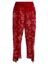 BY WALID Meera floral-embroidered silk-velvet trousers ~ red embellished pants