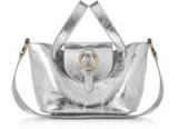 MELI MELO Rose Thela Silver Metallic Nappa Leather Mini Crossbody Bag / shiny luxe-style handbags