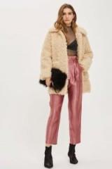 Topshop Metallic Pleated Waist Peg Trousers / shiny rose-pink pants