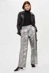 Topshop Metallic Wide Leg Trousers   silver pants