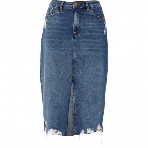 River Island Mid blue denim distressed hem pencil skirt | destroyed hem skirts