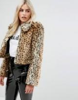 Millie Mackintosh Faux Fur Leopard Coat / 70s vintage style puff sleeved coats / animal print