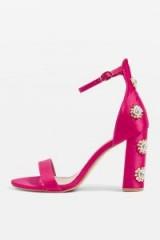Topshop MIMI Bead Block Sandals / hot pink embellished shoes