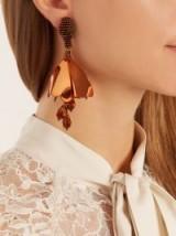OSCAR DE LA RENTA Mini Impatiens clip-on earrings ~ bronze floral statement jewellery